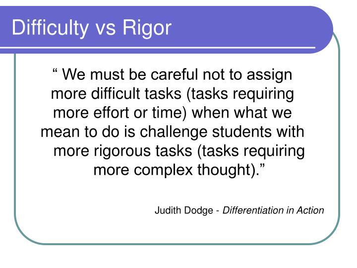 Difficulty vs Rigor