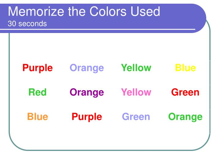 Memorize the Colors Used
