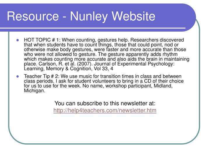 Resource - Nunley Website