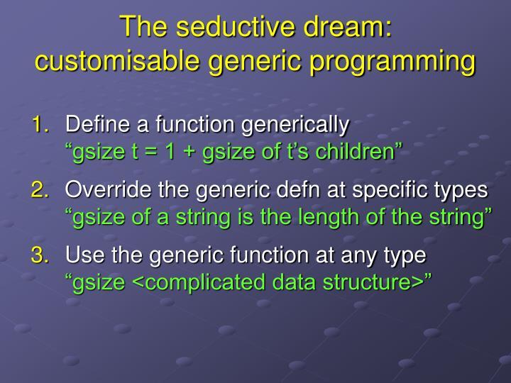 The seductive dream customisable generic programming