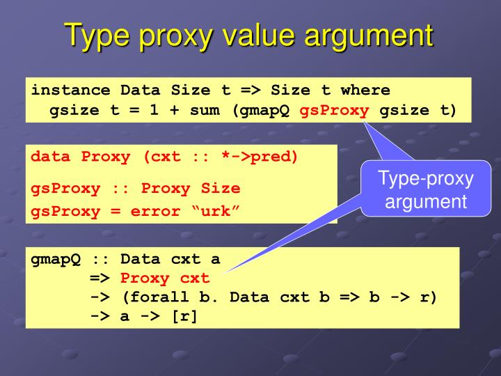 Type proxy value argument