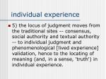 individual experience