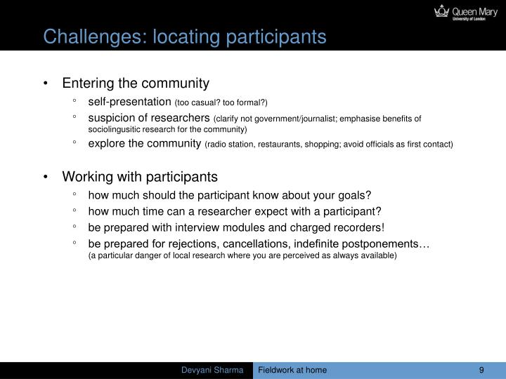 Challenges: locating participants