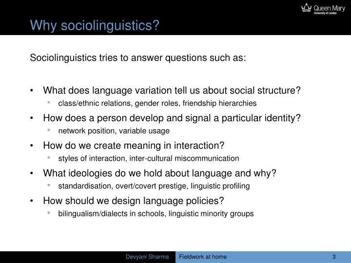 Why sociolinguistics