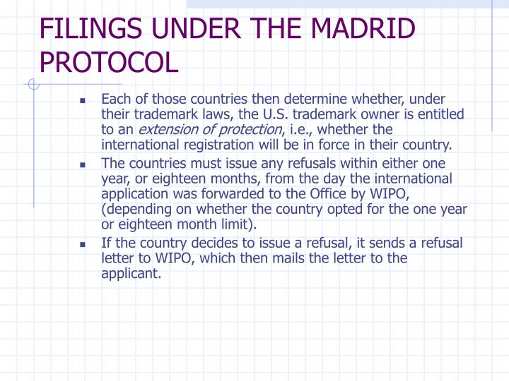 FILINGS UNDER THE MADRID PROTOCOL