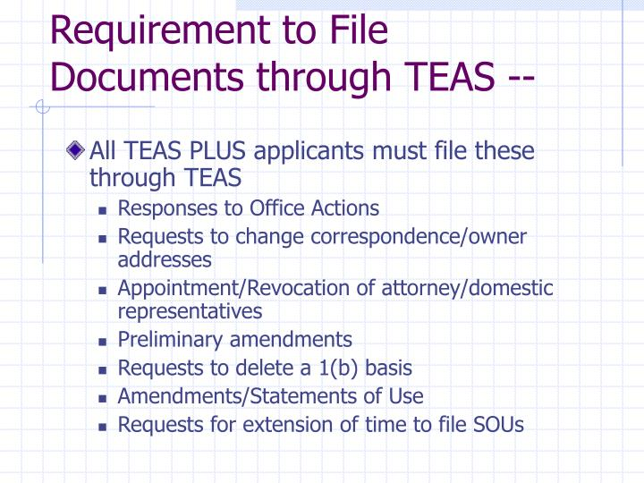 Requirement to File Documents through TEAS --