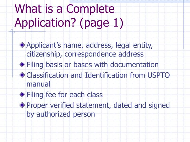 What is a Complete Application? (page 1)