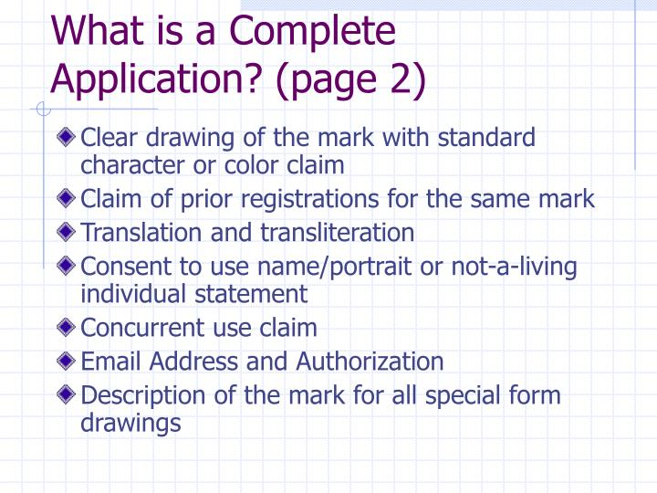 What is a Complete Application? (page 2)