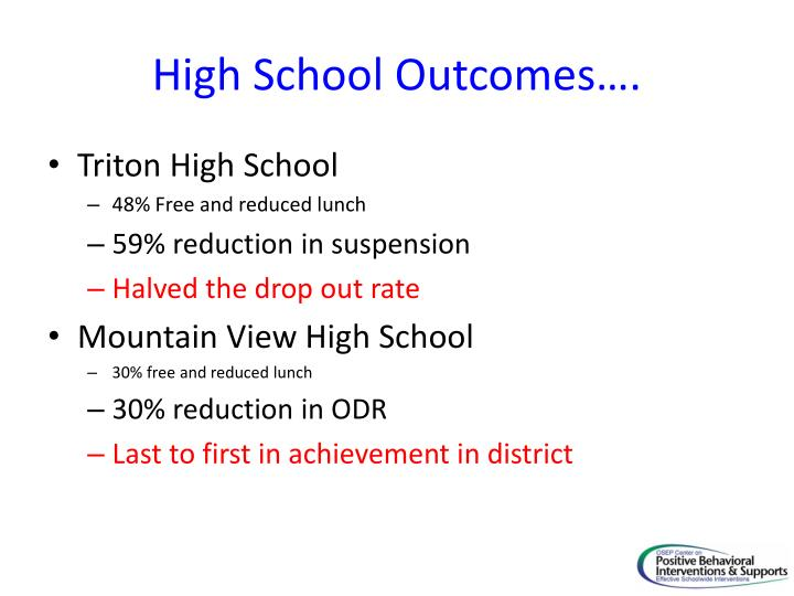 High School Outcomes….