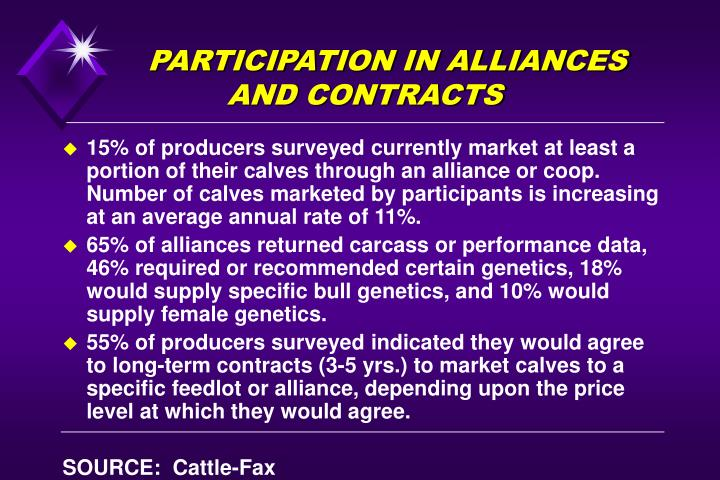 participation in alliances and contracts n.