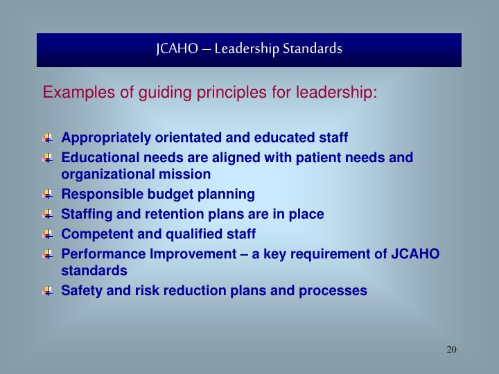 JCAHO – Leadership Standards
