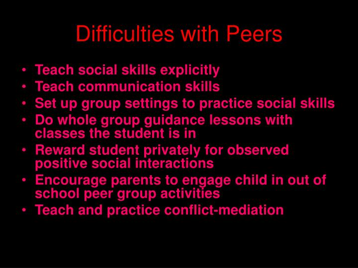 Difficulties with Peers