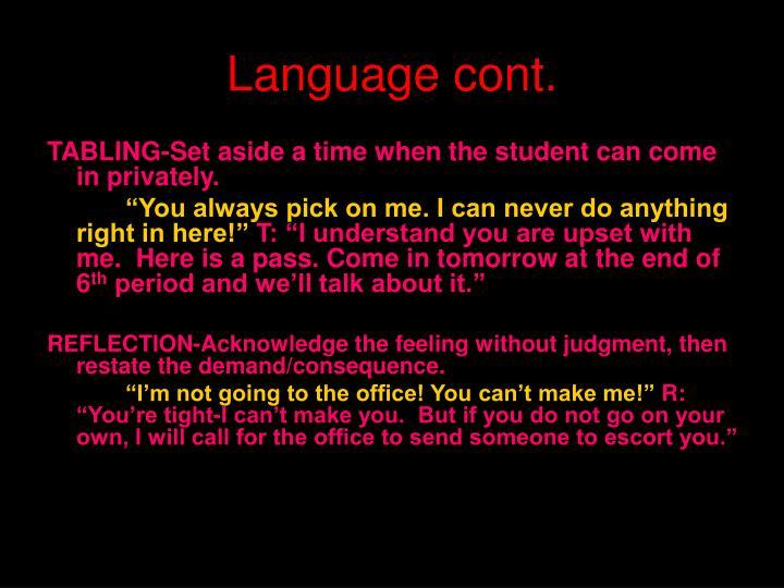 Language cont.