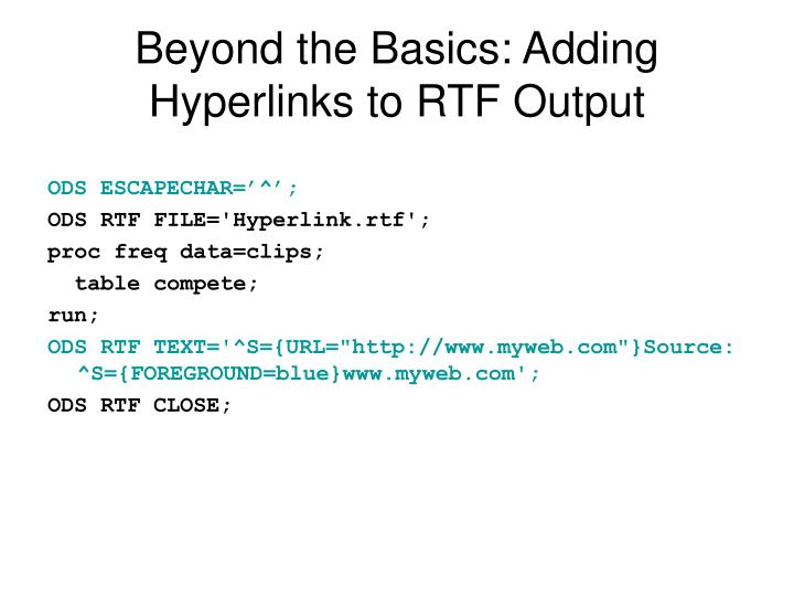 Beyond the Basics: Adding Hyperlinks to RTF Output