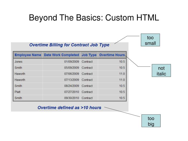 Beyond The Basics: Custom HTML