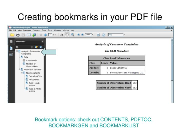 Creating bookmarks in your PDF file