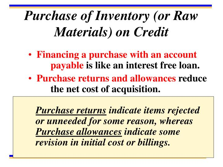 Purchase of Inventory (or Raw Materials) on Credit