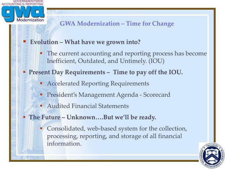 GWA Modernization – Time for Change