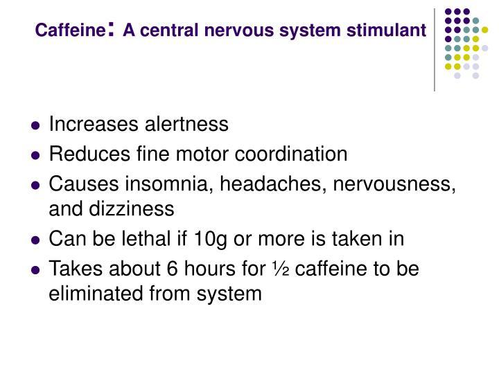 Caffeine a central nervous system stimulant