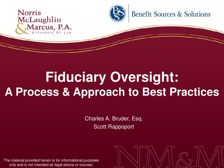 fiduciary oversight a process approach to best practices n.