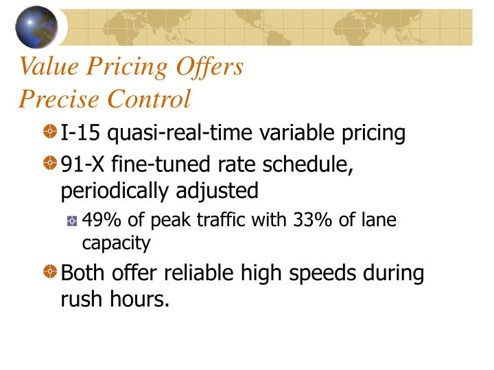 Value Pricing Offers
