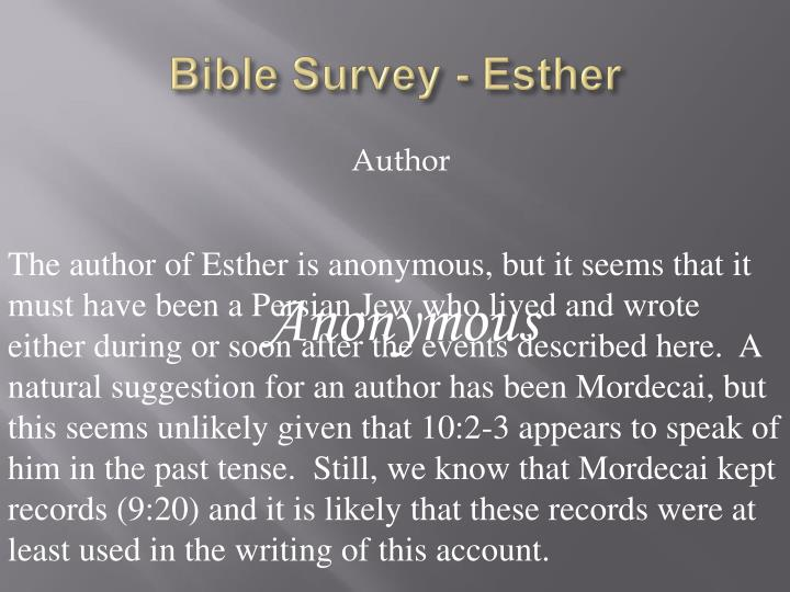 Bible survey esther1