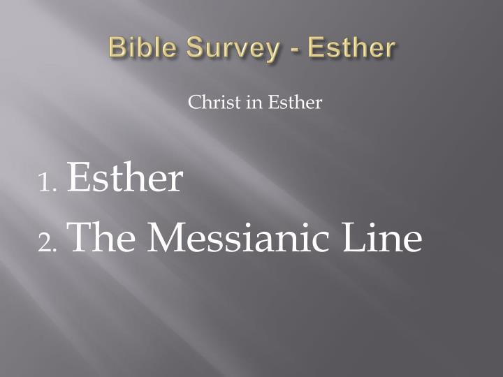 Bible Survey - Esther