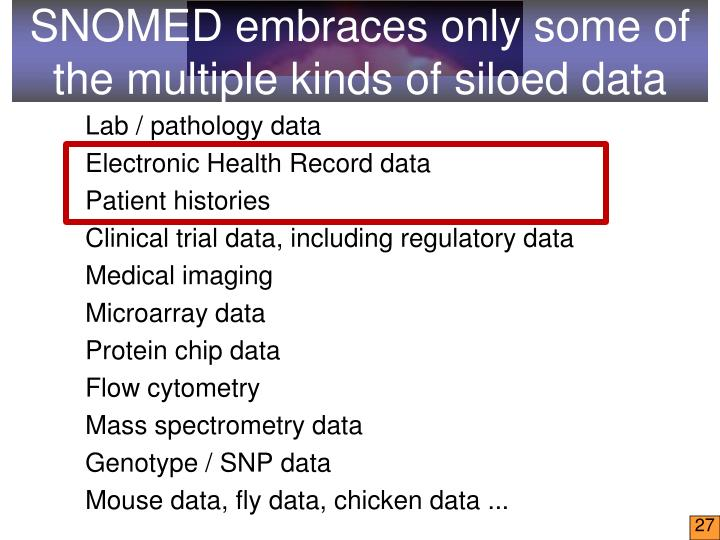 SNOMED embraces only some of the multiple kinds of