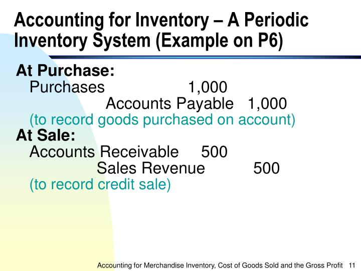Accounting for Inventory – A Periodic Inventory System (Example on P6)