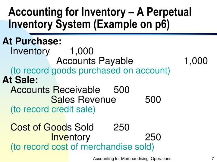 Accounting for Inventory – A Perpetual Inventory System (Example on p6)