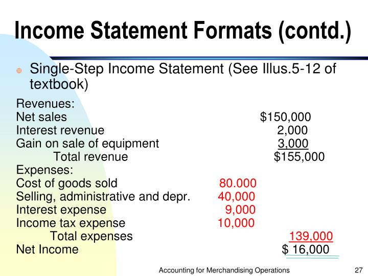 Income Statement Formats (contd.)