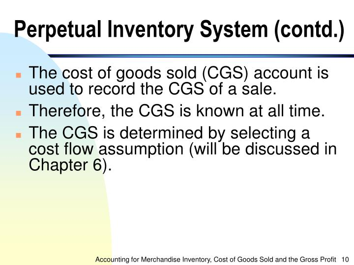 Perpetual Inventory System (contd.)