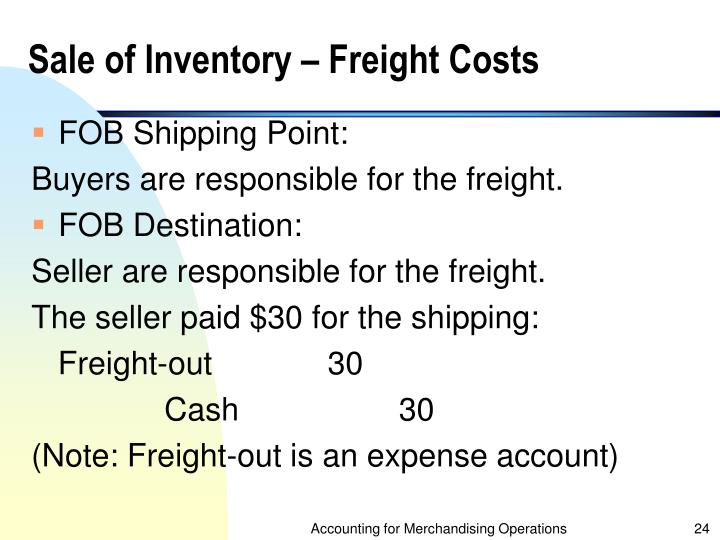 Sale of Inventory – Freight Costs