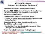 atsd ncb memo subject non standard equipment