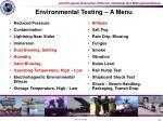 environmental testing a menu