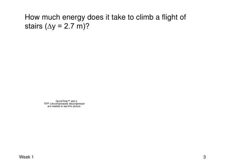How much energy does it take to climb a flight of stairs (∆y = 2.7 m)?