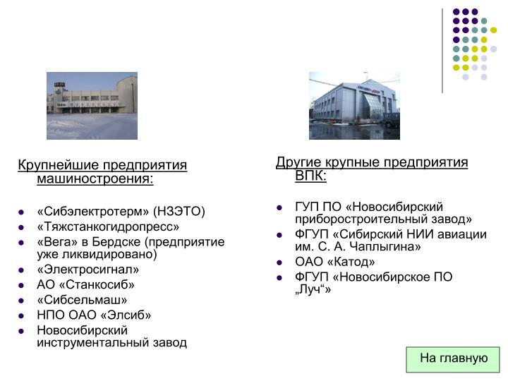 Крупнейшие предприятия машиностроения: