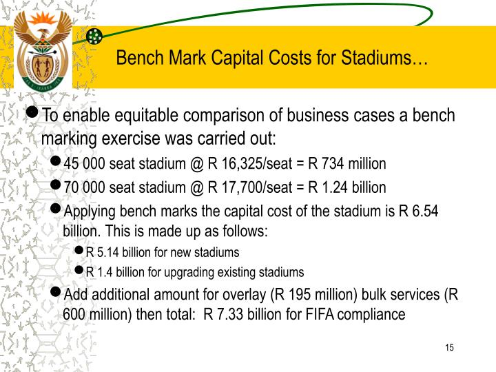 Bench Mark Capital Costs for Stadiums…