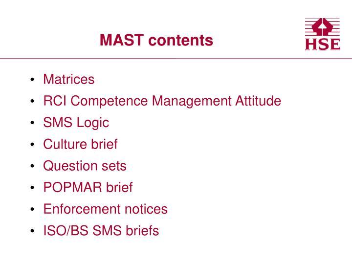 Mast contents