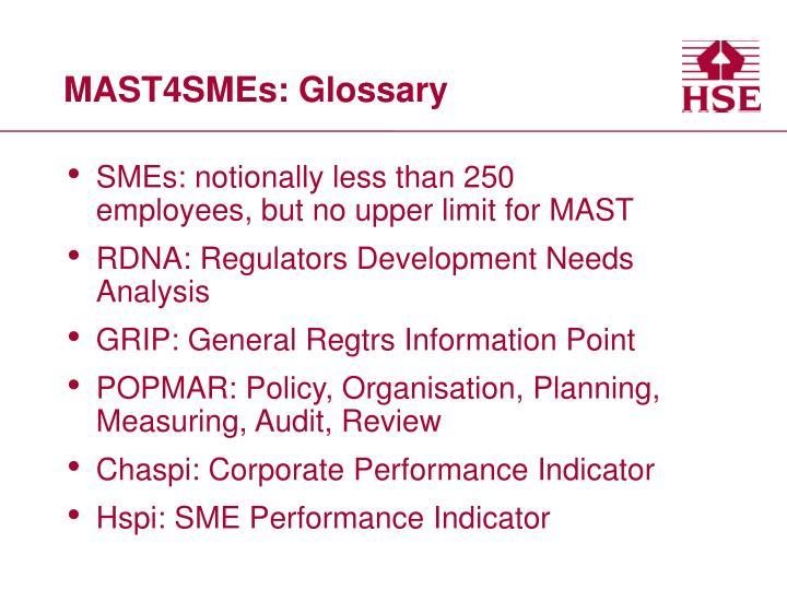 MAST4SMEs: Glossary