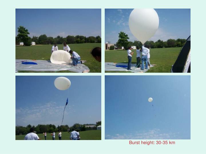 Burst height: 30-35 km