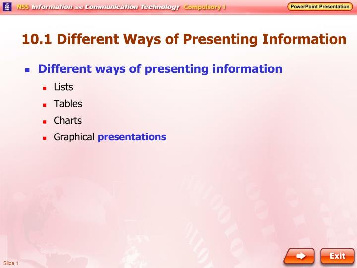 10 1 different ways of presenting information n.
