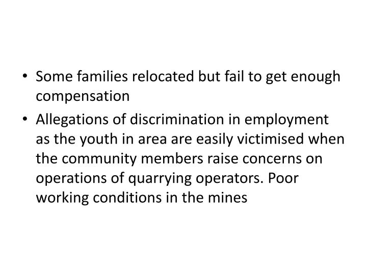 Some families relocated but fail to get enough compensation