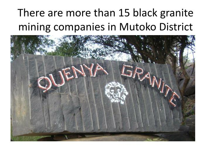 There are more than 15 black granite mining companies in Mutoko District