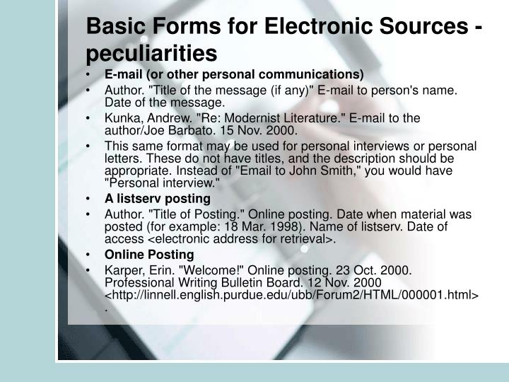 Basic Forms for Electronic Sources - peculiarities