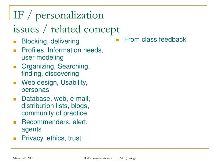 If personalization issues related concept