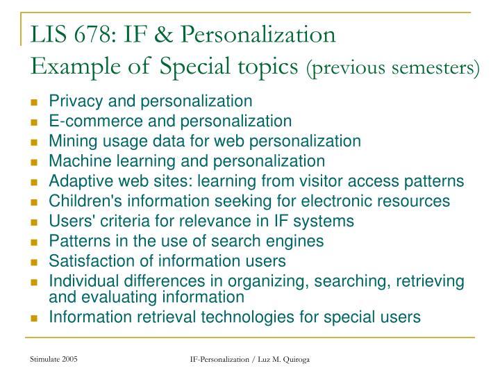 LIS 678: IF & Personalization