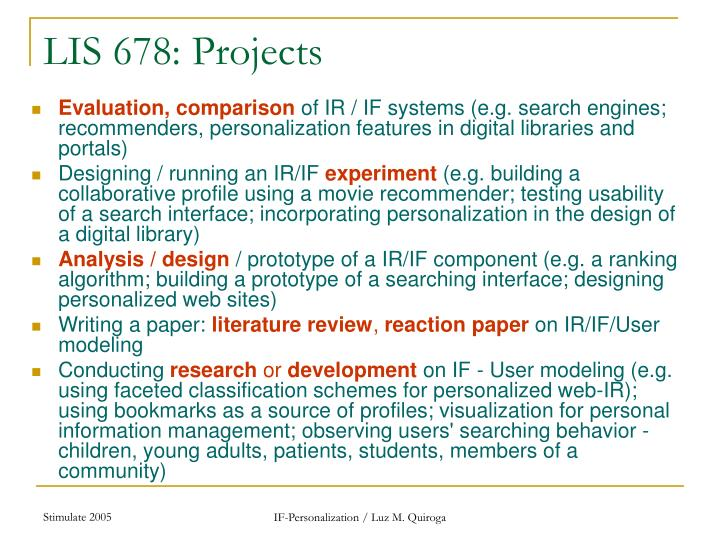 LIS 678: Projects