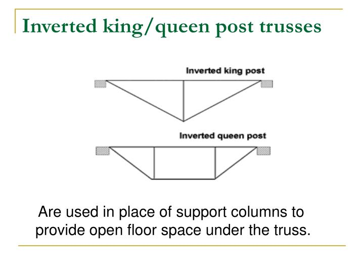 Inverted king/queen post trusses