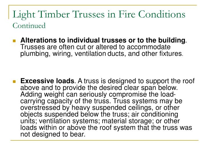 Light Timber Trusses in Fire Conditions